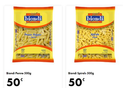 This week at The Reject Shop there are at least four varieties of dried pasta for 50c each.
