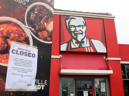Close to 700 KFC outlets remain closed across the UK and Ireland. (AAP)