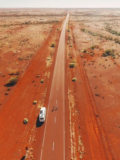 Aerial view of the red dirt Australian outback / van life