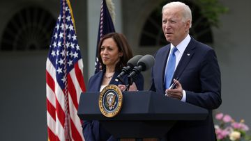 President Joe Biden delivers remarks on the COVID-19 response and vaccination program as Vice President Kamala Harris listens in the Rose Garden of the White House on May 13, 2021 in Washington, DC.