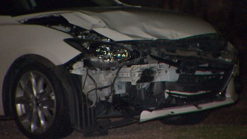 The front of the vehicle involved in a collision that killed two teenagers in Adelaide.