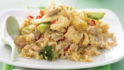 "Recipe:&nbsp;<a href=""http://kitchen.nine.com.au/2016/05/13/11/47/fried-rice-with-pork-and-vegetables"" target=""_top"">Fried rice with pork and vegetables</a>"