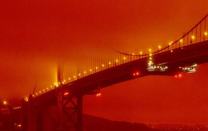 San Francisco's Golden Gate Bridge bathed in red glow as California wildfires burn more than 900,000 hectares
