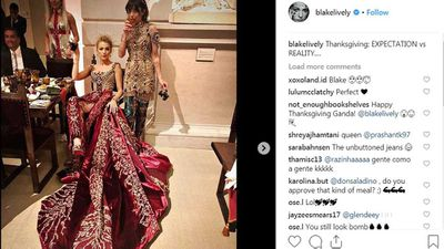 <p>Blake Lively posts relatable Thanksgiving photo</p>