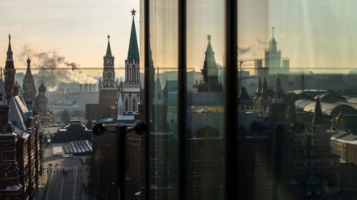 The Kremlin as seen from the roof of the Ritz-Carlton in Moscow.