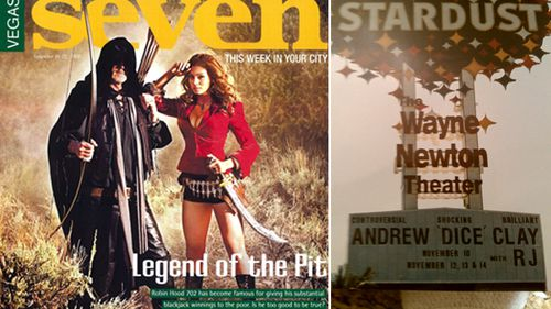 RJ Cipriani as Robin Hood 702 on the cover of Seven, the Las Vegas casino bible (left); The marquee board advertising comedian Andrew Dice Clay that Cipriani hijacked and added his name for a joke. (Supplied)