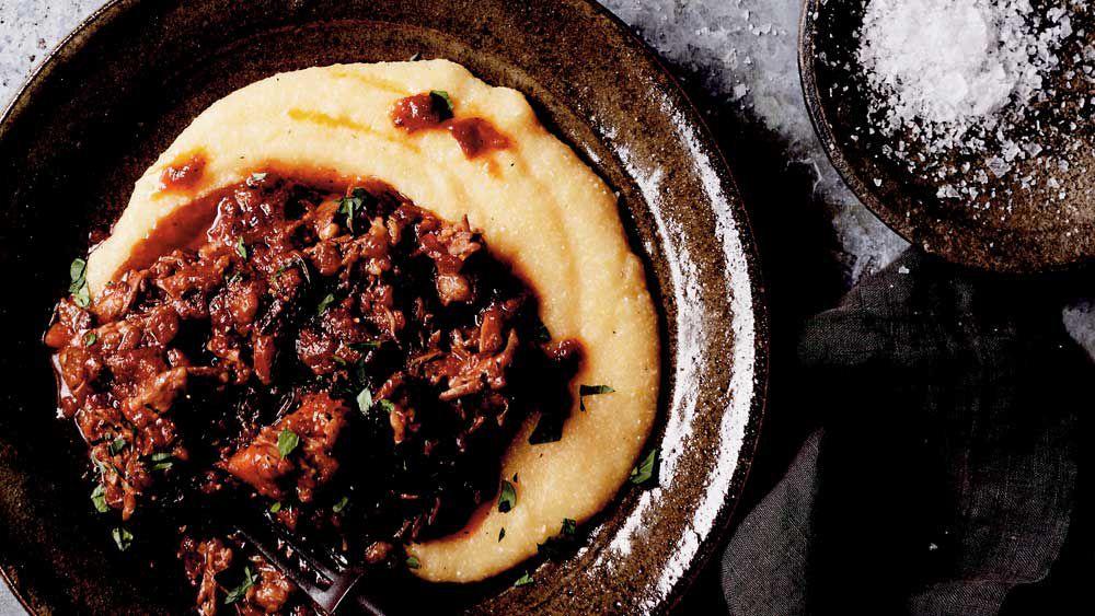 Sticky oxtail stew with creamy polenta recipe