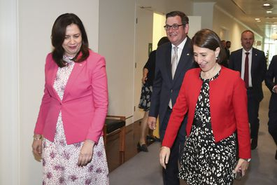 Premier of Queensland Annastacia Palaszczuk, Premier of Victoria Daniel Andrews and Premier of NSW Gladys Berejiklian after a national cabinet press conference at Parliament House in Canberra on  Friday 11 December 2020.