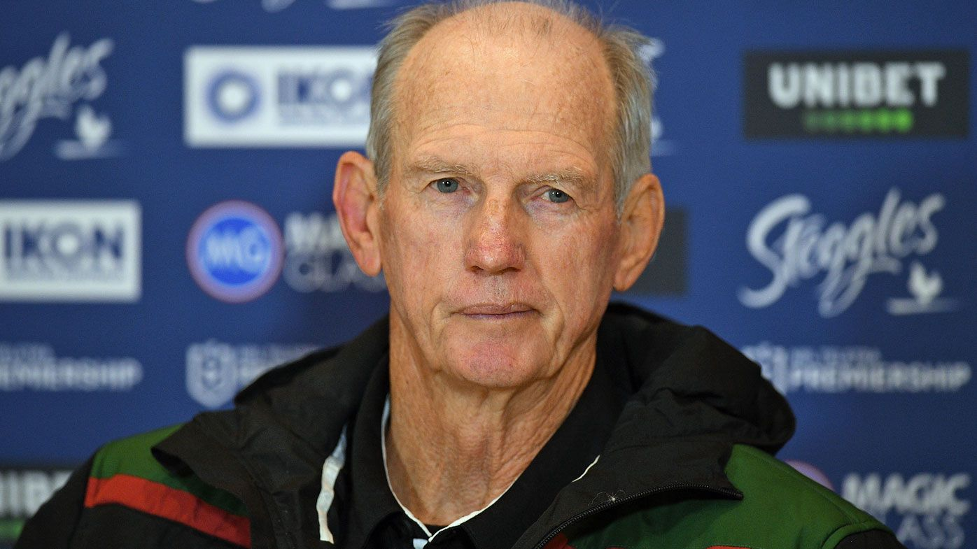Rabbitohs coach Wayne Bennett speaks during a press conference