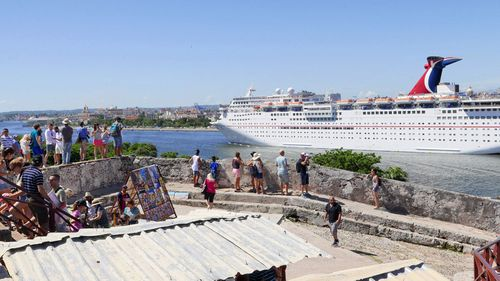 The Carnival Paradise docks in Havana, Cuba.