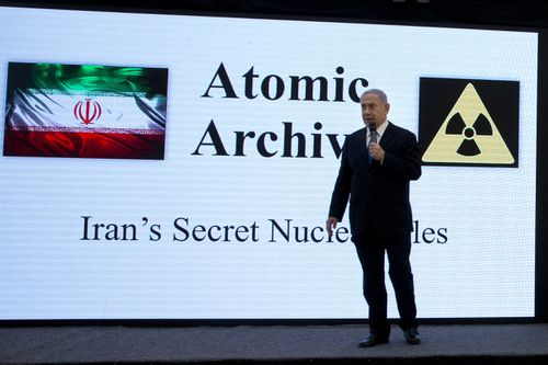 "Netanyahu says his government has obtained ""half a ton"" of secret Iranian documents proving the Tehran government once had a nuclear weapons program. (AP)"