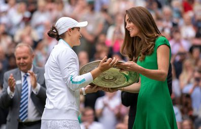 July 10: Ashleigh Barty of Australia is presented with the Venus Rosewater Dish trophy by HRH Catherine, The Duchess of Cambridge after winning her Ladies' Singles Final match against Karolina Pliskova of The Czech Republic on Day Twelve of The Championships - Wimbledon 2021 at All England Lawn Tennis and Croquet Club on July 10, 2021 in London, England.