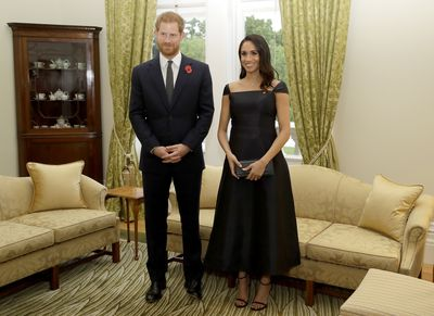 Prince Harry and Meghan Markle at a reception at Government House on October 28, 2018 in Wellington, New Zealand