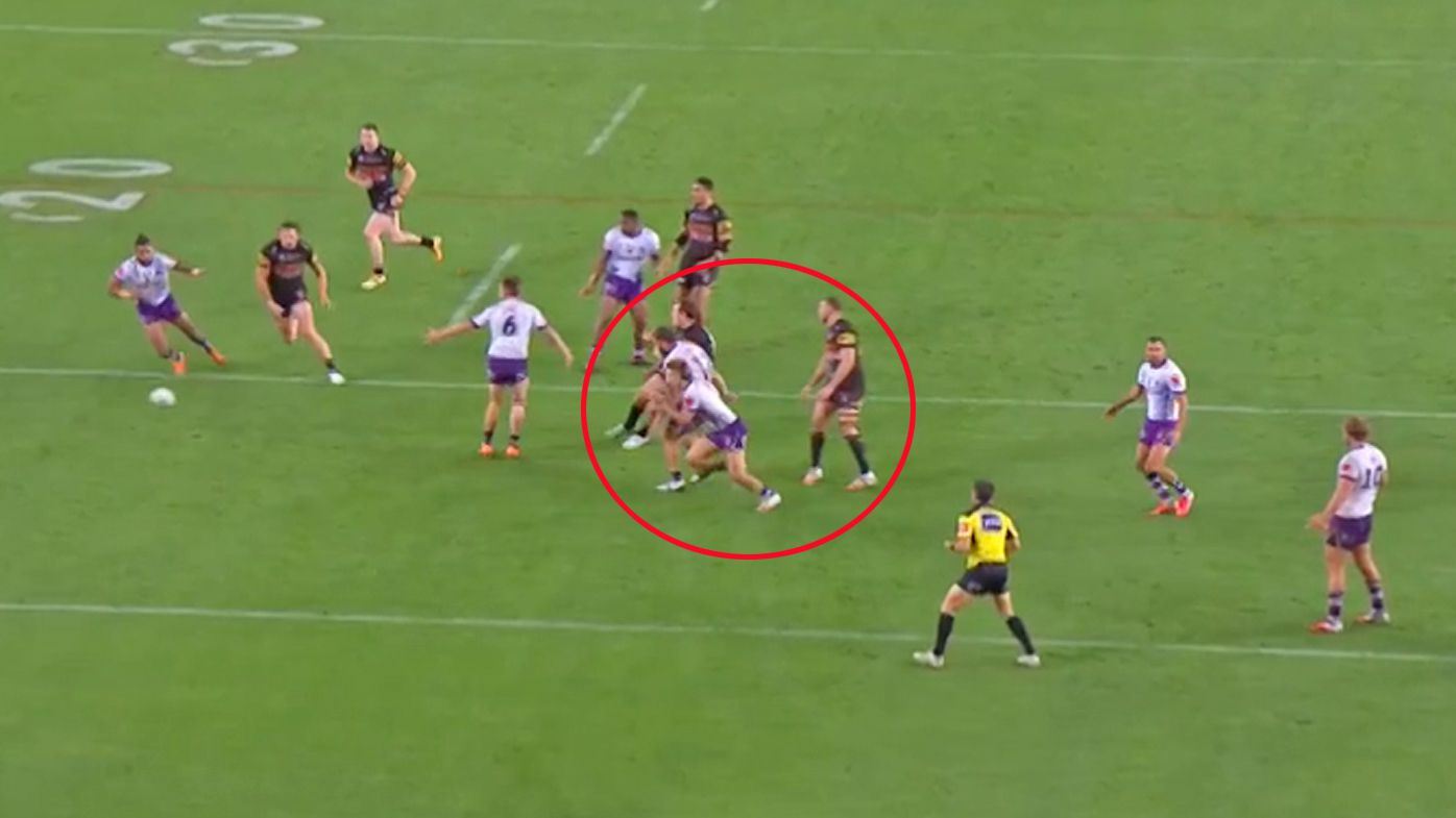 Penrith score a contentious try