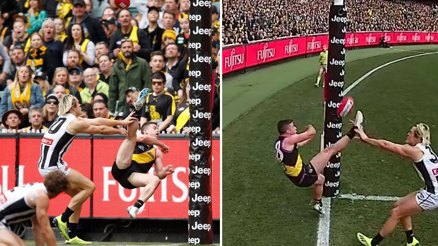 AFL: Richmond Tigers' Jack Higgins puts up contender for goal of the year with miracle round-the-post snap