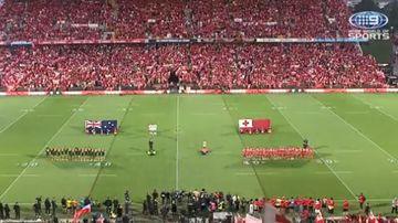 Tonga fans sing Australia national anthem
