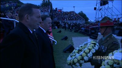 """Ordinary men, who did extraordinary things, "" Mr Abbott said of the fallen soldiers. (9NEWS)"
