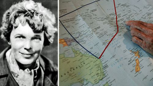 Amelia Earhart and the vast swathe of the Pacific Ocean where she and her navigator went missing. (AP).