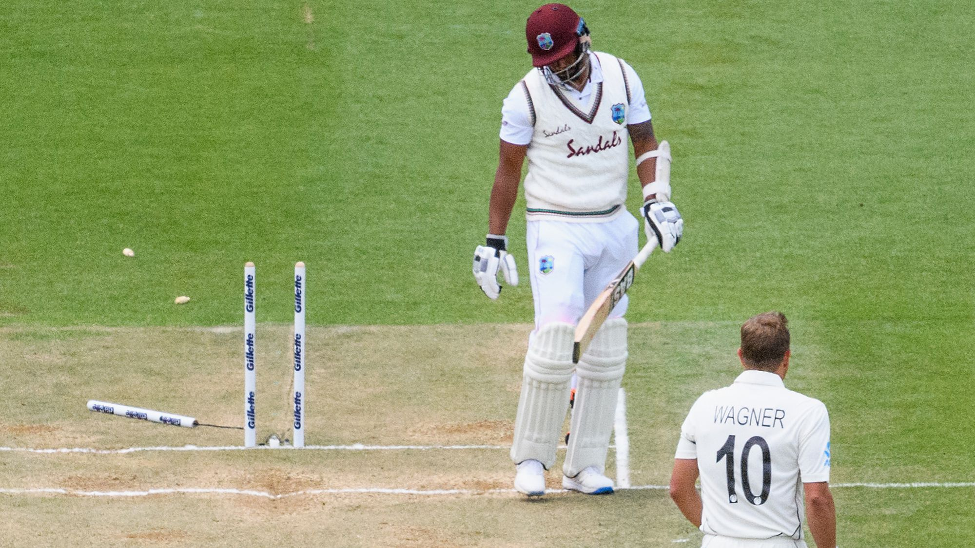 New Zealand thrash West Indies by an innings and 134 runs in the first cricket Test in Hamilton
