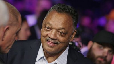 Jesse Jackson joins the crowd before the Mayweather vs Pacquiao fight in Las Vegas. (AAP)