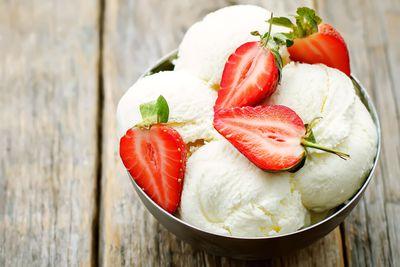 For frozen fruit (approx 52 calories/100g)