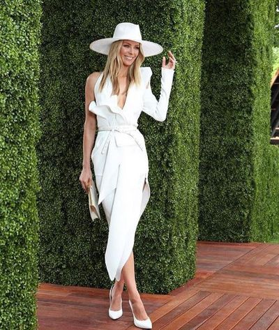 Model Jennifer Hawkins, in Toni Maticevski, at Melbourne's Derby Day, 2018