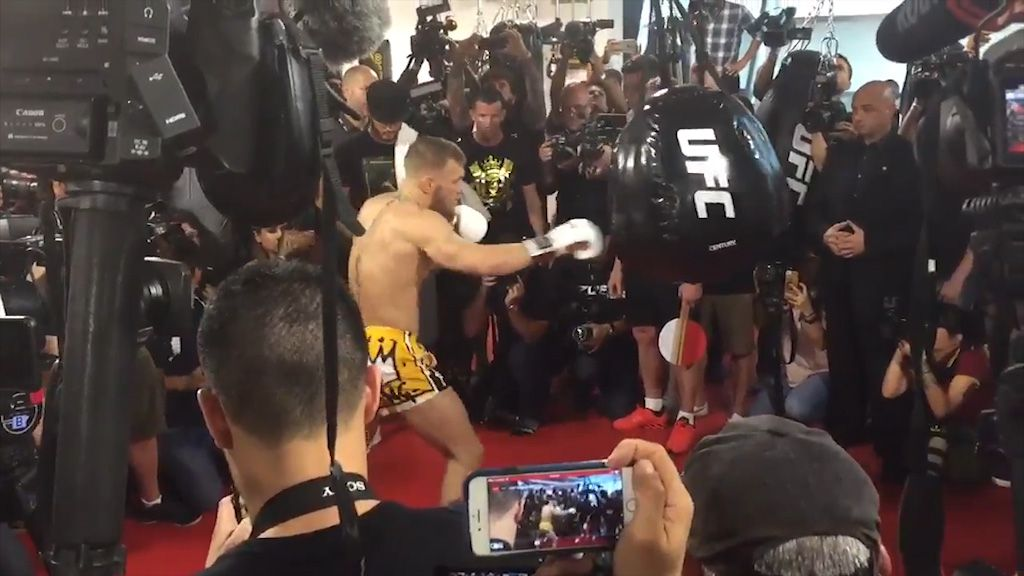 McGregor works the bag