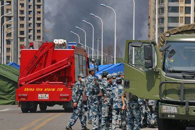 Massive warehouse explosion city of Tianjin, China