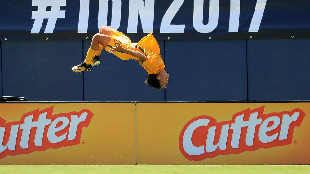 Matildas' Sam Kerr boots first half hat-trick against Japan at Tournament of Nations