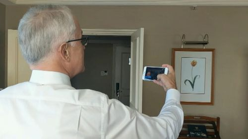 Prime Minister Malcolm Turnbull spoke with the Australian rescuers via Skype today. Picture: 9NEWS