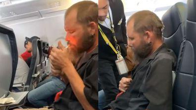 Man smoking on plane