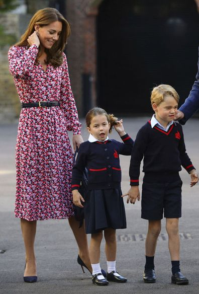 Kate Middleton with Princess Charlotte and Prince George on Charlotte's first day of school at Thomas's Battersea in London, Thursday Sept. 5, 2019.