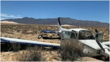 A couple had a lucky escape when their plane crash landed in the Mojave Desert on Sunday.