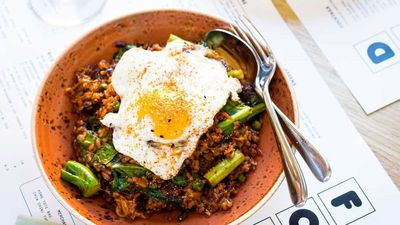"<a href=""http://kitchen.nine.com.au/2017/05/03/14/03/kong-kimchi-fried-rice-with-brisket-and-a-fried-egg"" target=""_top"">Kong kimchi fried rice with brisket and a fried egg</a><br /> <br /> <a href=""http://kitchen.nine.com.au/2016/06/06/22/56/quick-and-easy-meals-with-rice"" target=""_top"">More rice recipes</a>"