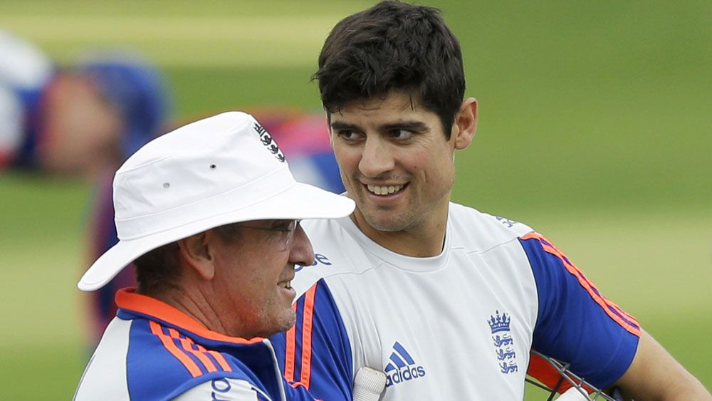 Trevor Bayliss and Alastair Cook. (AAP)
