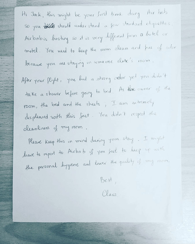 Airbnb host angry letter to guest