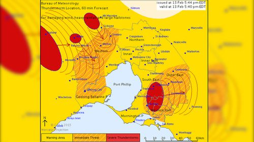 A severe thunderstorm warning has been issued for the greater Melbourne area. (BOM)