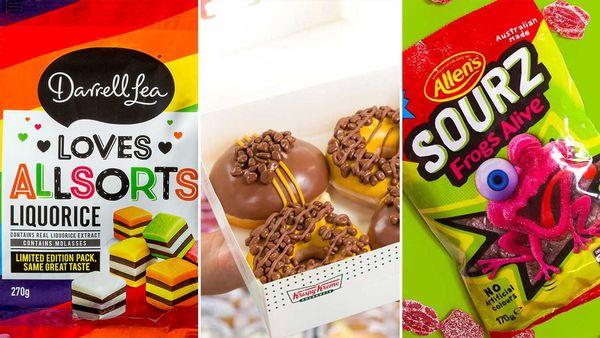 Darrell Lea Loves Allsorts, Krispy Kreme, Allen's Sourz Frogs Alive