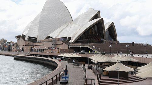 The Opera Bar at the Opera House is seen shut down amid the coronavirus pandemic