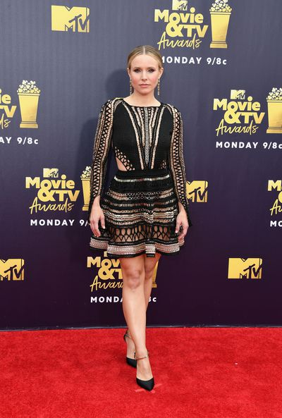 Actress Kristen Bell in Julian MacDonald at the 2018 Movie and TV Awards