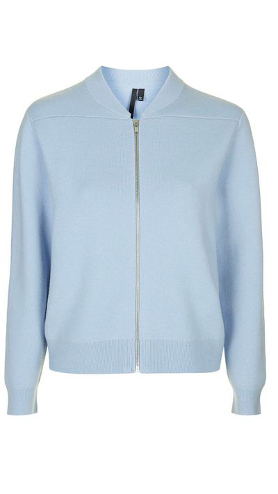 "<a href=""http://www.topshop.com/en/tsuk/product/clothing-427/jackets-coats-2390889/bomber-jackets-3107199/zip-knit-bomber-by-boutique-4181307?bi=1&ps=20""> Merino Wool Knit Zip Bomber Jacket, $251.66, Topshop</a>"