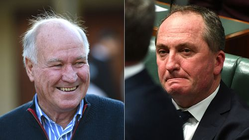 Former New England MP Tony Windsor (left) says his successor Barnaby Joyce's position will put pressure on Malcolm Turnbull. (AAP)