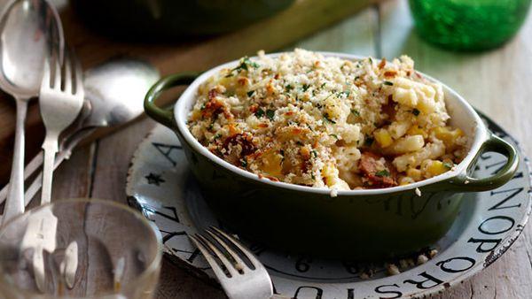 Corn and sausage macaroni bake