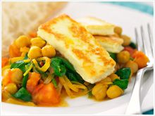 Spicy chickpeas and spinach with haloumi