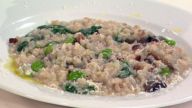 Broadbean, mushroom & speck risotto