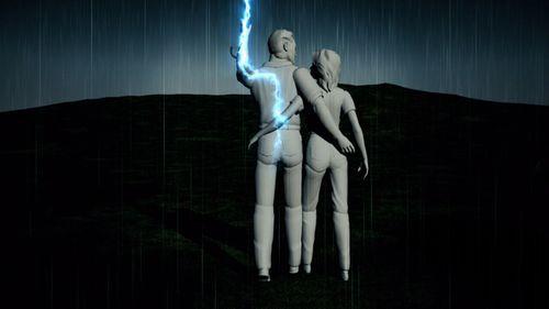 The lightning struck Ben and was passed through him to Lauren.