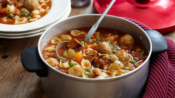 Minestrone with cheesy dumplings