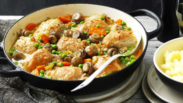 One-pot chicken and mushroom casserole for Australian Mushrooms