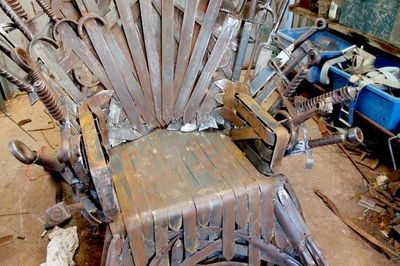 """<P>It so far consists of 80 homemade swords, and there are still many to make before it is completed next month. </P> <P>Mr Whitehead hopes to have it completed quicker than George RR Martin takes to write the next book.</P> <P>Construction began at the end of May. Mr Whitehead estimates he has spent the equivalent of one-and-a-half months full time building all the parts and putting them together. </P> <P>It breaks apart into 12 smaller sections """"that will fit through a household doorway"""".</P> <P>""""I could install it in your lounge room if your floor can handle it,"""" he said. </P> <P></P>"""