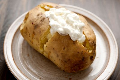 3-4 hours before: Baked potato with cottage cheese and a glass of milk